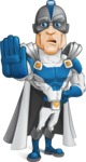 Retired Superhero Cartoon Vector Character AKA Space Centurion - Stop 2