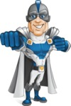 Retired Superhero Cartoon Vector Character AKA Space Centurion - Punch
