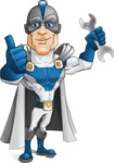 Retired Superhero Cartoon Vector Character AKA Space Centurion - Repair