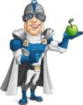 Retired Superhero Cartoon Vector Character AKA Space Centurion - Apple