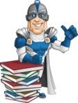 Retired Superhero Cartoon Vector Character AKA Space Centurion - Books1