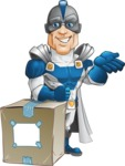 Retired Superhero Cartoon Vector Character AKA Space Centurion - Delivery