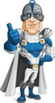 Retired Superhero Cartoon Vector Character AKA Space Centurion - Thumbs Up