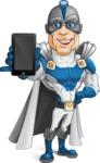 Retired Superhero Cartoon Vector Character AKA Space Centurion - Mobile Phone