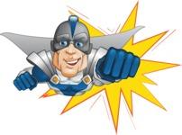 Retired Superhero Cartoon Vector Character AKA Space Centurion - Shape 1