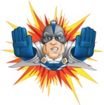 Retired Superhero Cartoon Vector Character AKA Space Centurion - Shape 3