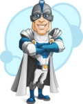 Retired Superhero Cartoon Vector Character AKA Space Centurion - Shape 4