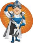Retired Superhero Cartoon Vector Character AKA Space Centurion - Shape 7