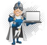 Retired Superhero Cartoon Vector Character AKA Space Centurion - Shape 8