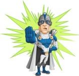 Retired Superhero Cartoon Vector Character AKA Space Centurion - Shape 9