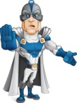 Retired Superhero Cartoon Vector Character AKA Space Centurion - Angry 1