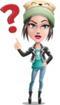 Cute Teenage Girl Cartoon Vector Character AKA Dixie - Question