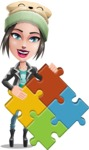 Cute Teenage Girl Cartoon Vector Character AKA Dixie - Puzzle