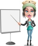 Cute Teenage Girl Cartoon Vector Character AKA Dixie - Presentation 1