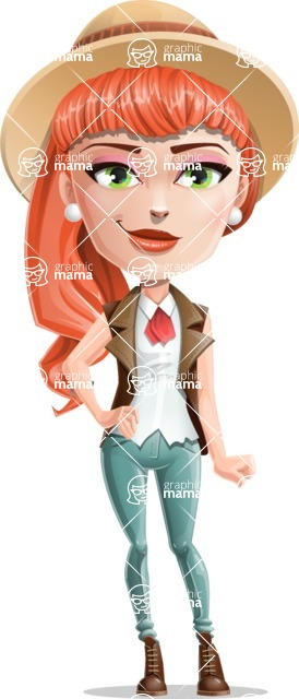 Cartoon Adventure Girl Cartoon Vector Character - Normal