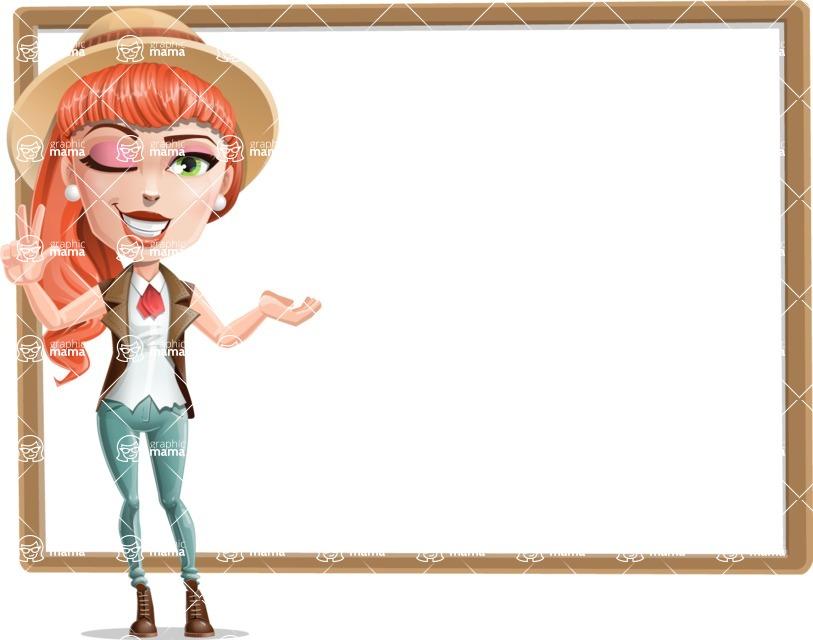 Cartoon Adventure Girl Cartoon Vector Character - Presentation 4