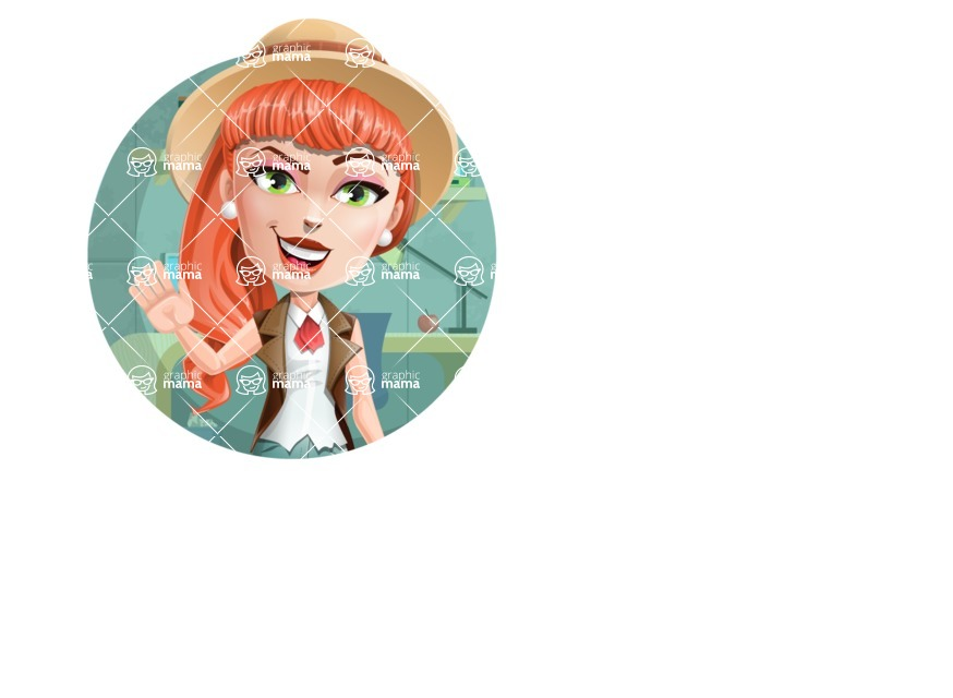 Cartoon Adventure Girl Cartoon Vector Character - Shape 1
