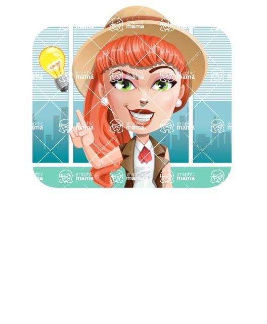 Cartoon Adventure Girl Cartoon Vector Character - Shape 2