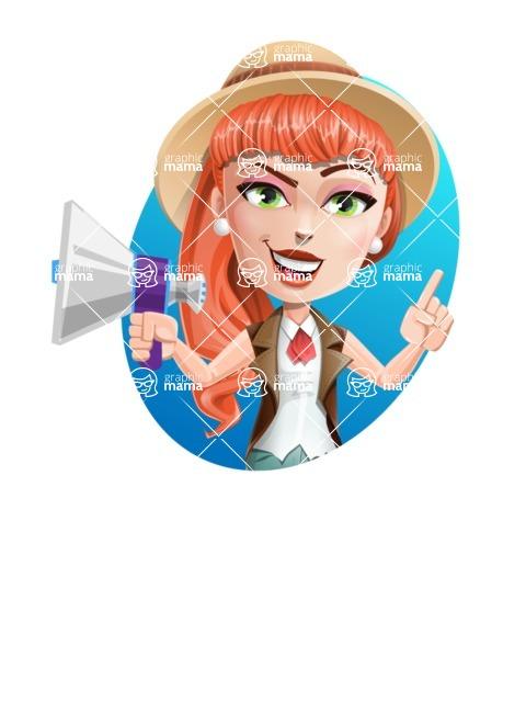 Cartoon Adventure Girl Cartoon Vector Character - Shape 4