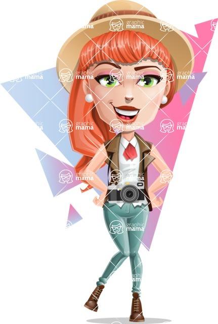 Cartoon Adventure Girl Cartoon Vector Character - Shape 7