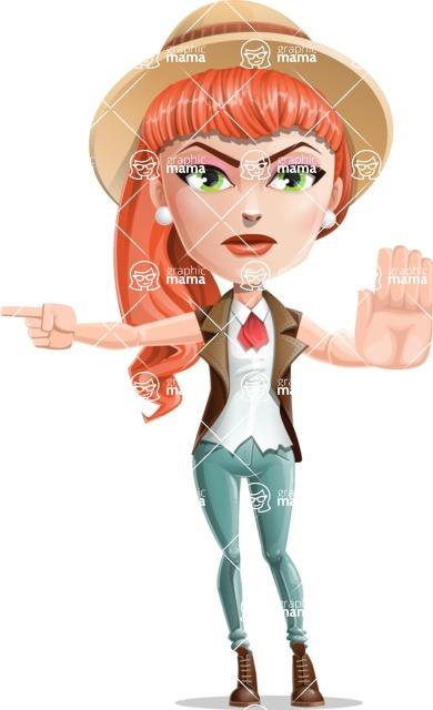 Cartoon Adventure Girl Cartoon Vector Character - Direct Attention 1