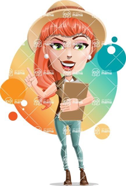 Cartoon Adventure Girl Cartoon Vector Character - Shape 11