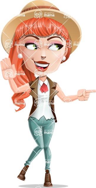 Cartoon Adventure Girl Cartoon Vector Character - Direct Attention 2