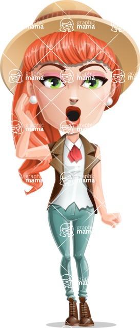 Cartoon Adventure Girl Cartoon Vector Character - Stunned