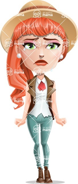 Cartoon Adventure Girl Cartoon Vector Character - Sad