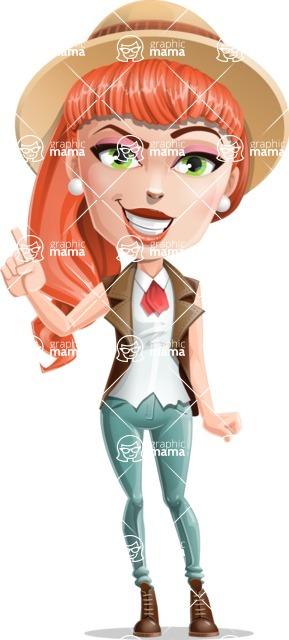 Cartoon Adventure Girl Cartoon Vector Character - Attention