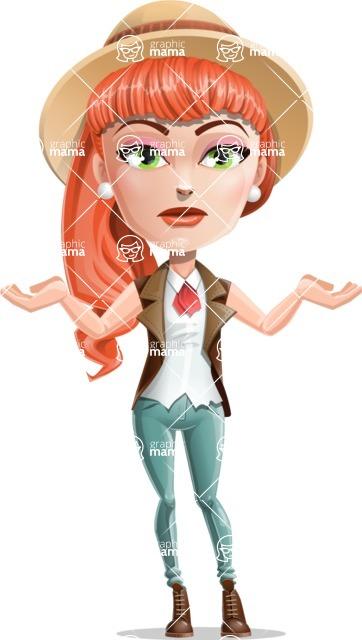 Cartoon Adventure Girl Cartoon Vector Character - Confused