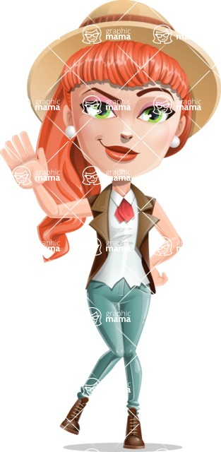 Cartoon Adventure Girl Cartoon Vector Character - Hello