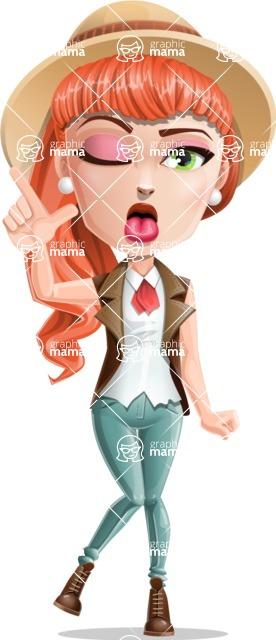 Cartoon Adventure Girl Cartoon Vector Character - Making Face