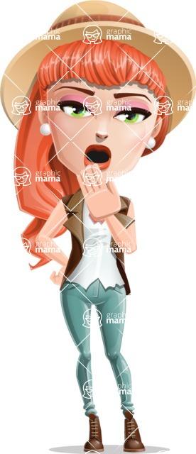 Cartoon Adventure Girl Cartoon Vector Character - Bored 1