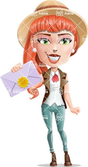 Cartoon Adventure Girl Cartoon Vector Character - Letter