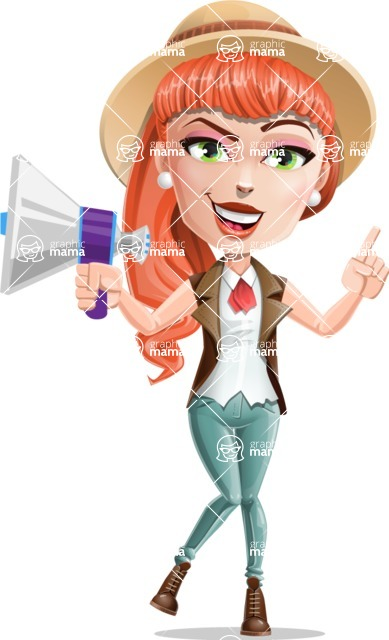 Cartoon Adventure Girl Cartoon Vector Character - Loudspeaker
