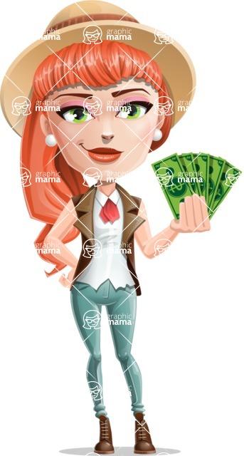 Cartoon Adventure Girl Cartoon Vector Character - Show me the money