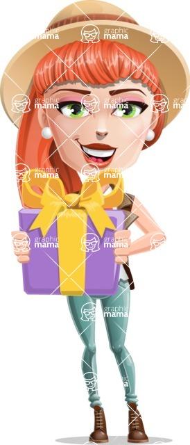 Cartoon Adventure Girl Cartoon Vector Character - Gift