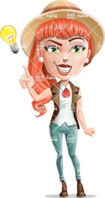 Cartoon Adventure Girl Cartoon Vector Character - Idea