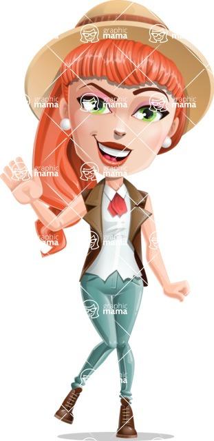 Cartoon Adventure Girl Cartoon Vector Character - Wave