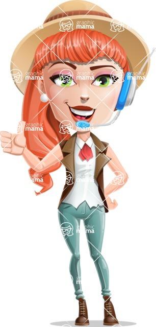 Cartoon Adventure Girl Cartoon Vector Character - Support 1