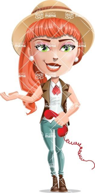 Cartoon Adventure Girl Cartoon Vector Character - Support 2