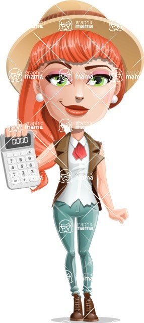 Cartoon Adventure Girl Cartoon Vector Character - Calculator