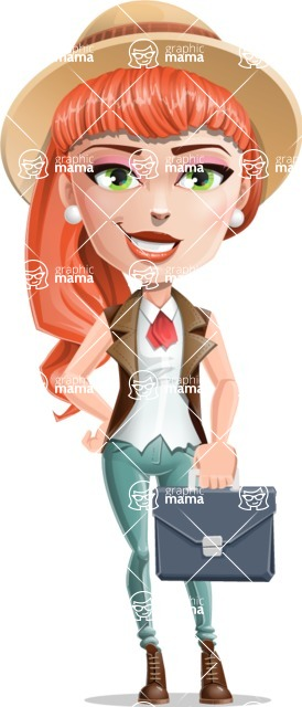 Cartoon Adventure Girl Cartoon Vector Character - Briefcase 2