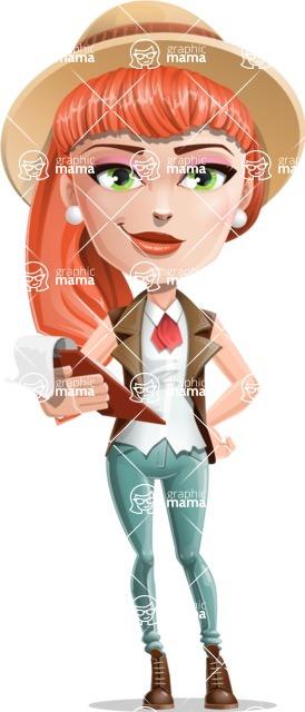 Cartoon Adventure Girl Cartoon Vector Character - Notepad 3