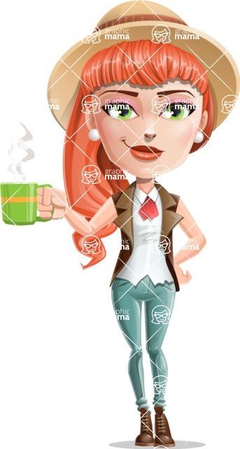 Cartoon Adventure Girl Cartoon Vector Character - Coffee