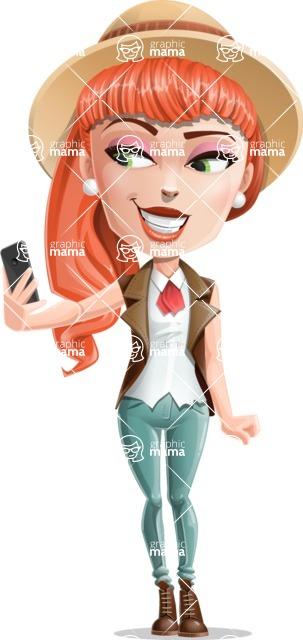 Cartoon Adventure Girl Cartoon Vector Character - Selfie 1