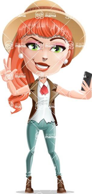 Cartoon Adventure Girl Cartoon Vector Character - Selfie 2
