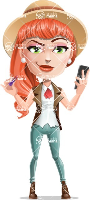 Cartoon Adventure Girl Cartoon Vector Character - Glasses and phone