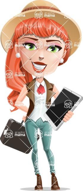 Cartoon Adventure Girl Cartoon Vector Character - Bag and tablet